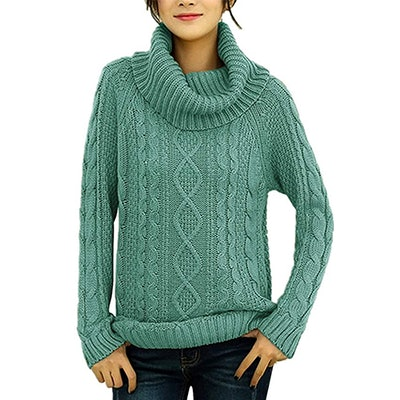 v28 Cowl Neck Cable Knit Sweater