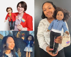 Clockwise from top left, Haven Coleman, Genesis Butler, and Iris Zhan pose with American Girl dolls designed to look like them.