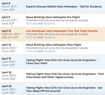 NASA has released this schedule of events surrounding the test flight of the Mars helicopter Ingenuity.
