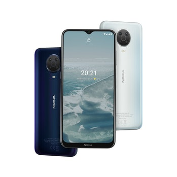 Front and back of Nokia G20 Android smartphone. Mobile. Android 11. Tear-drop notch.