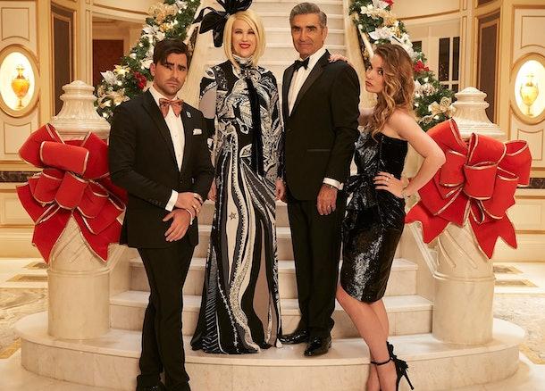 The Rose family on PopTV's 'Schitt's Creek' during Christmastime