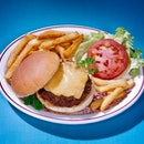 diner style hamburger and fries