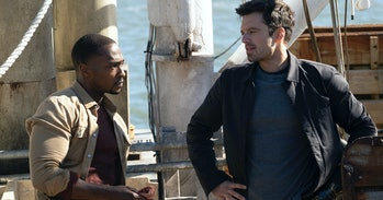 Anthony Mackie as Sam Wilson and Sebastian Stan as Bucky Barnes in The Falcon and the Winter Soldier