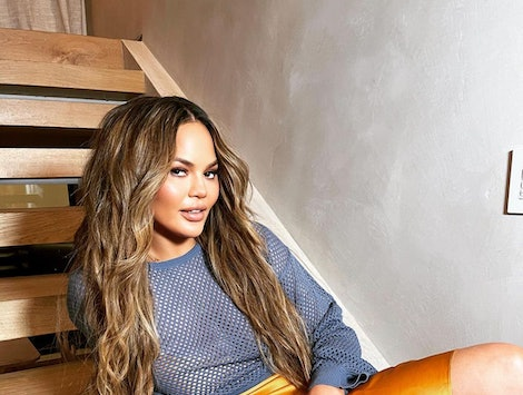 Chrissy Teigen's new pink hair color.