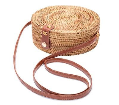XMLMRY Handwoven Round Rattan Bag