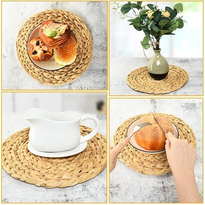COYMOS Round Woven Placemats (Set of 4)