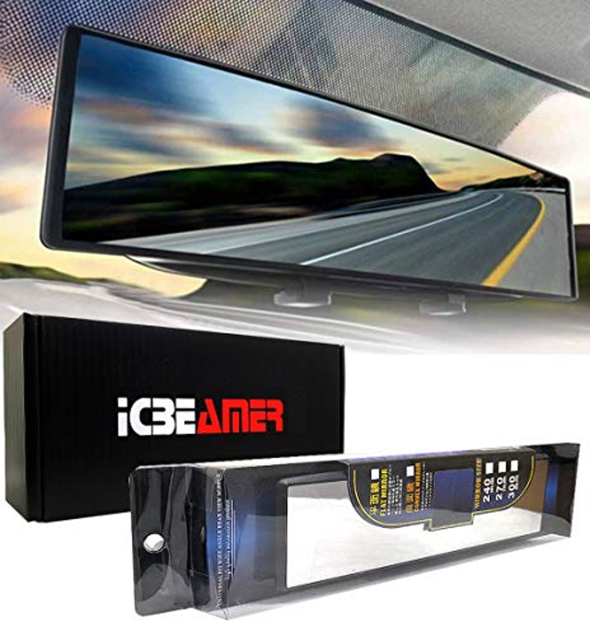 """ICBEAMER 10.6"""" 270mm Easy Clip on Wide Angle Panoramic Blind Spot"""