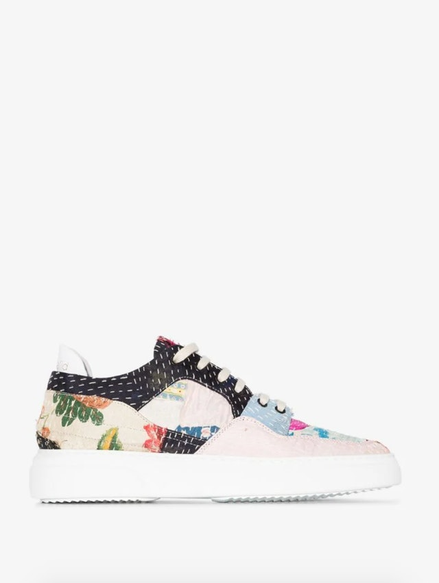 Multicolored Patchwork Low Top Leather Sneakers