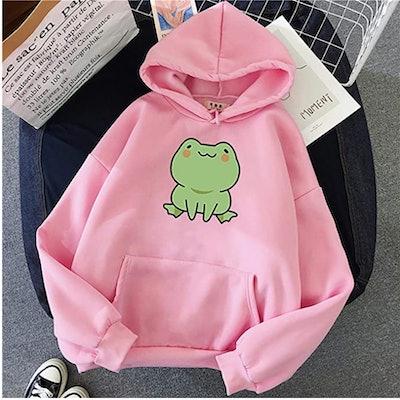 IKDXUF Frog Printed Big Pocket Hoodie