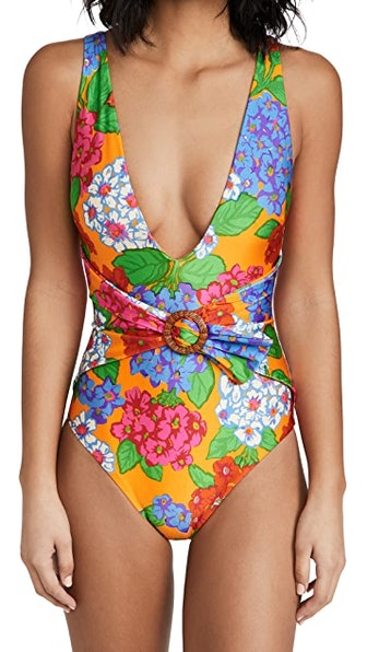 Riders Buckle Plunge One Piece Swimsuit
