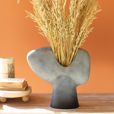 Tall Grey Bust Vase