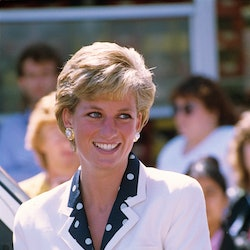 Princess Diana with her short haircut.