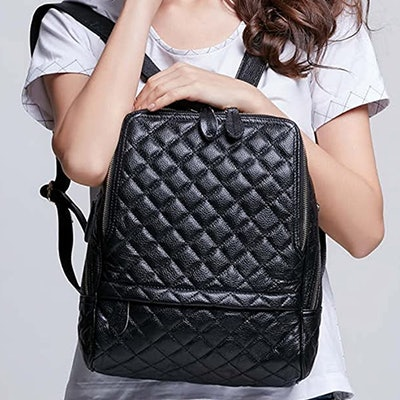 Coolcy Quilted Leather Backpack