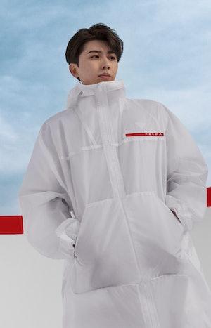 Cai Xu Kun in Prada Linea Rossa's Spring/Summer 2021 campaign.