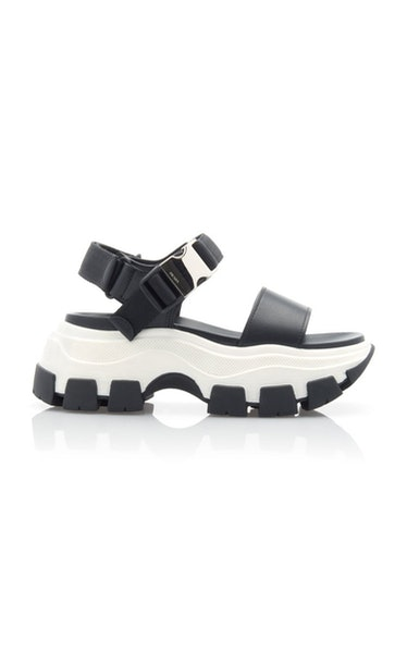 Buckled Leather And Rubber Sandals