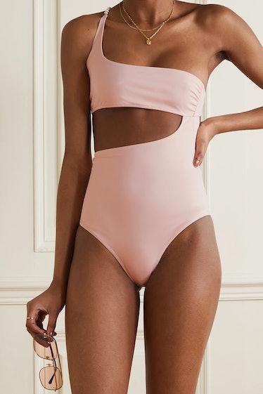 One-Shoulder Embellished Cutout Stretch-ECONYL Swimsuit