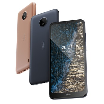 Front and back of Nokia C20. Smartphone. Mobile. Android 11.