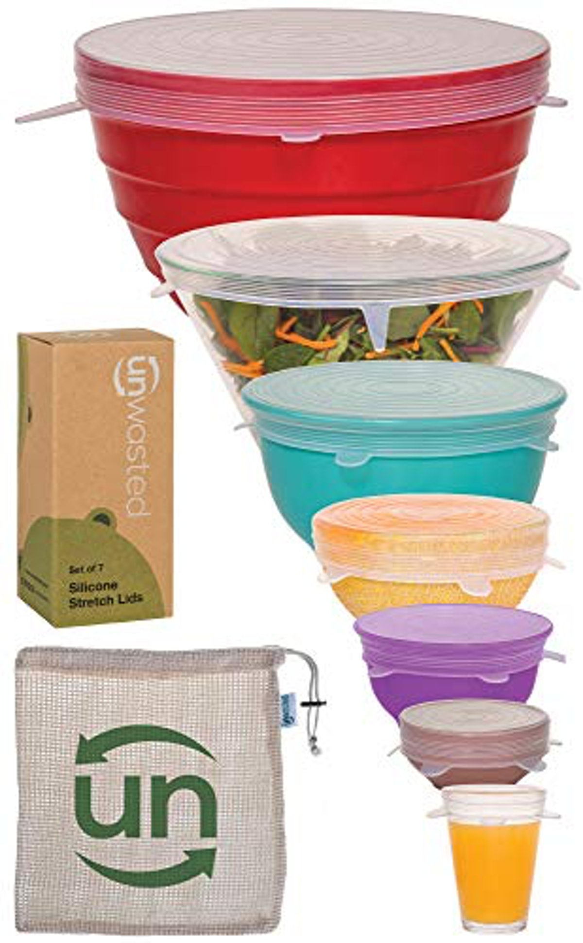 Unwasted Silicone Stretch Lids- Set of 7 Incl. Exclusive XL Size