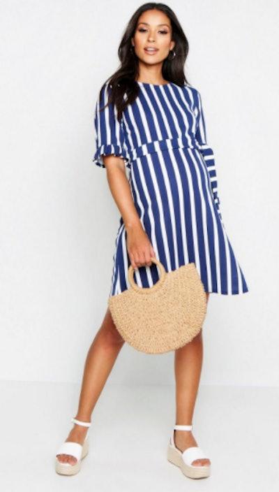 Maternity Stripe Ruffle Smock Dress