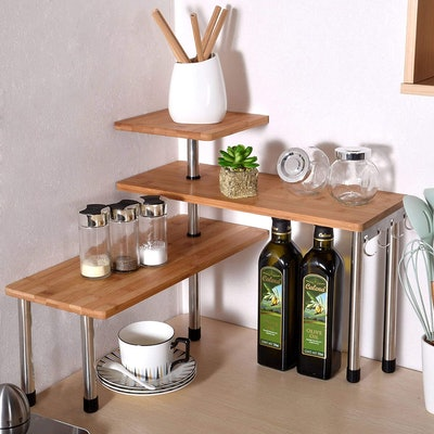 Ollieroo 3-Tier Bamboo Corner Shelf