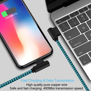 ANSEIP Right-Angle Phone Charging Cables (3-Pack)