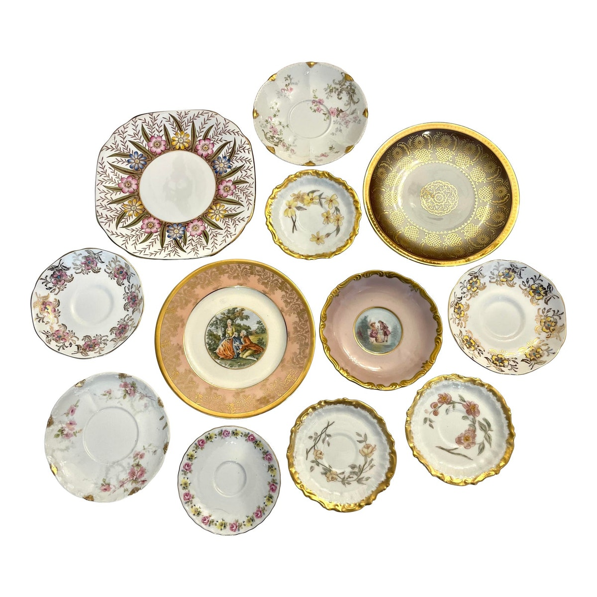 Pink and Gold Mixed Decorative Plates- a Set 12