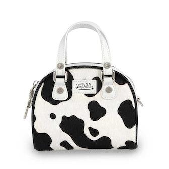 Black & White Cow Print Small Bowling Bag