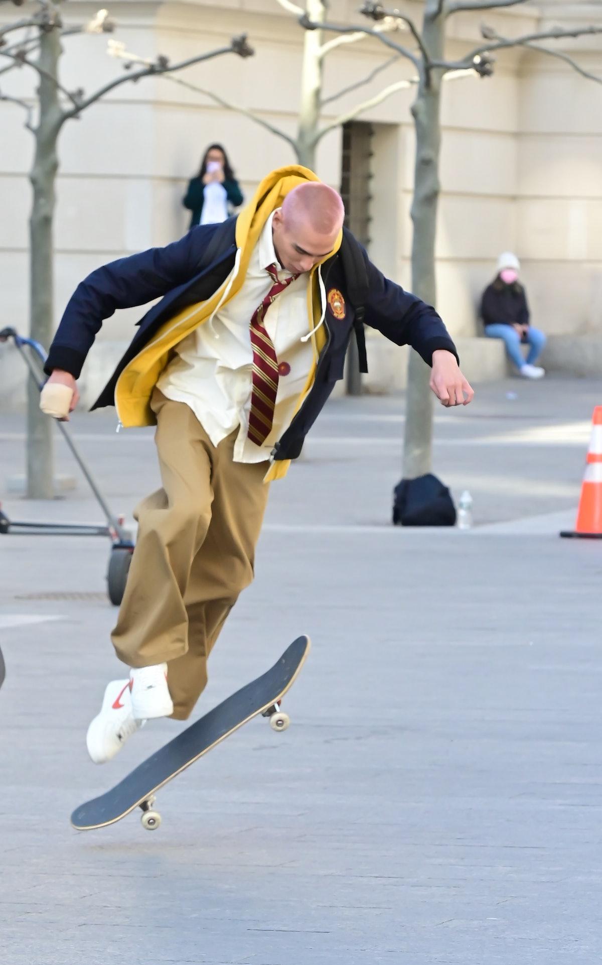 Evan Mock skateboarding