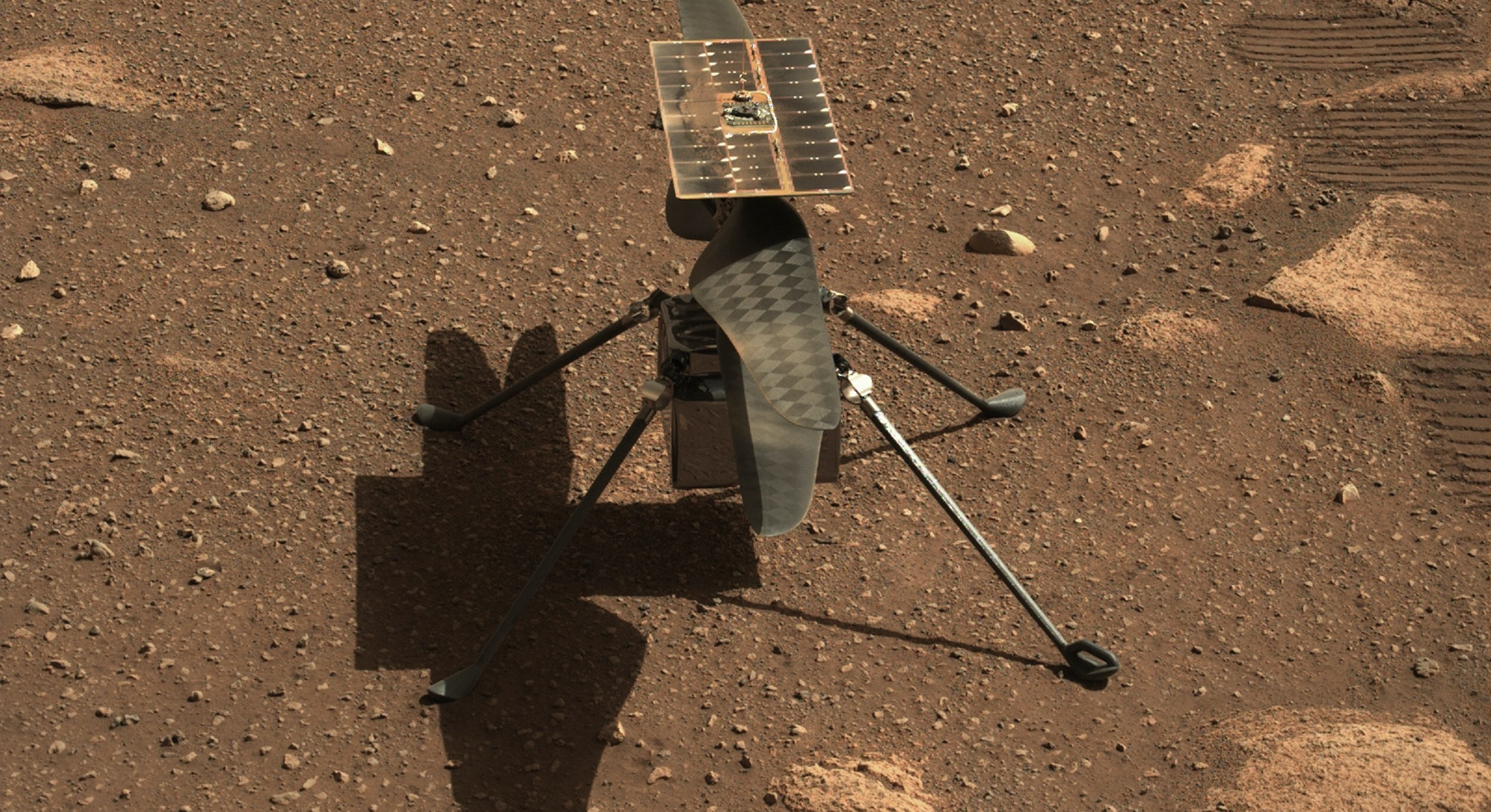 NASA's Ingenuity Mars helicopter is seen here in a close-up taken by Mastcam-Z, a pair of zoomable c...