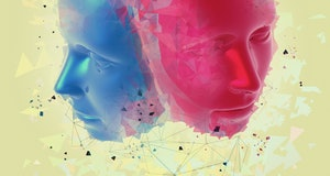Blue and pink 3D faces with graphics