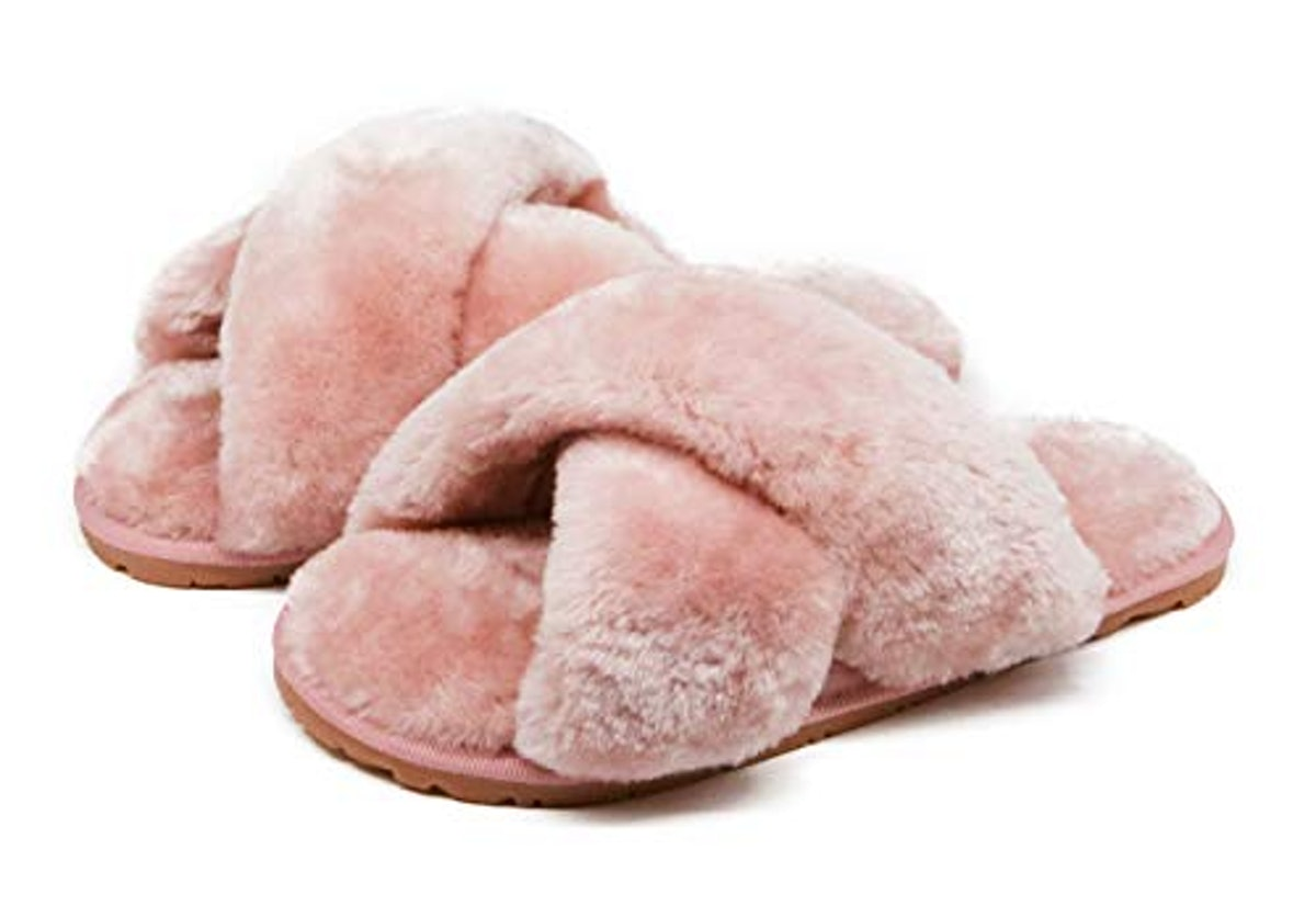 Crazy Lady Fuzzy Crossband Fluffy Furry Fur Slippers