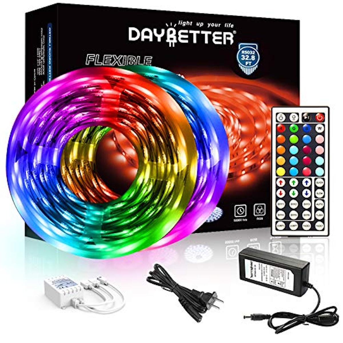 DAYBETTER Led Strip Lights 32.8ft 5050 RGB LED