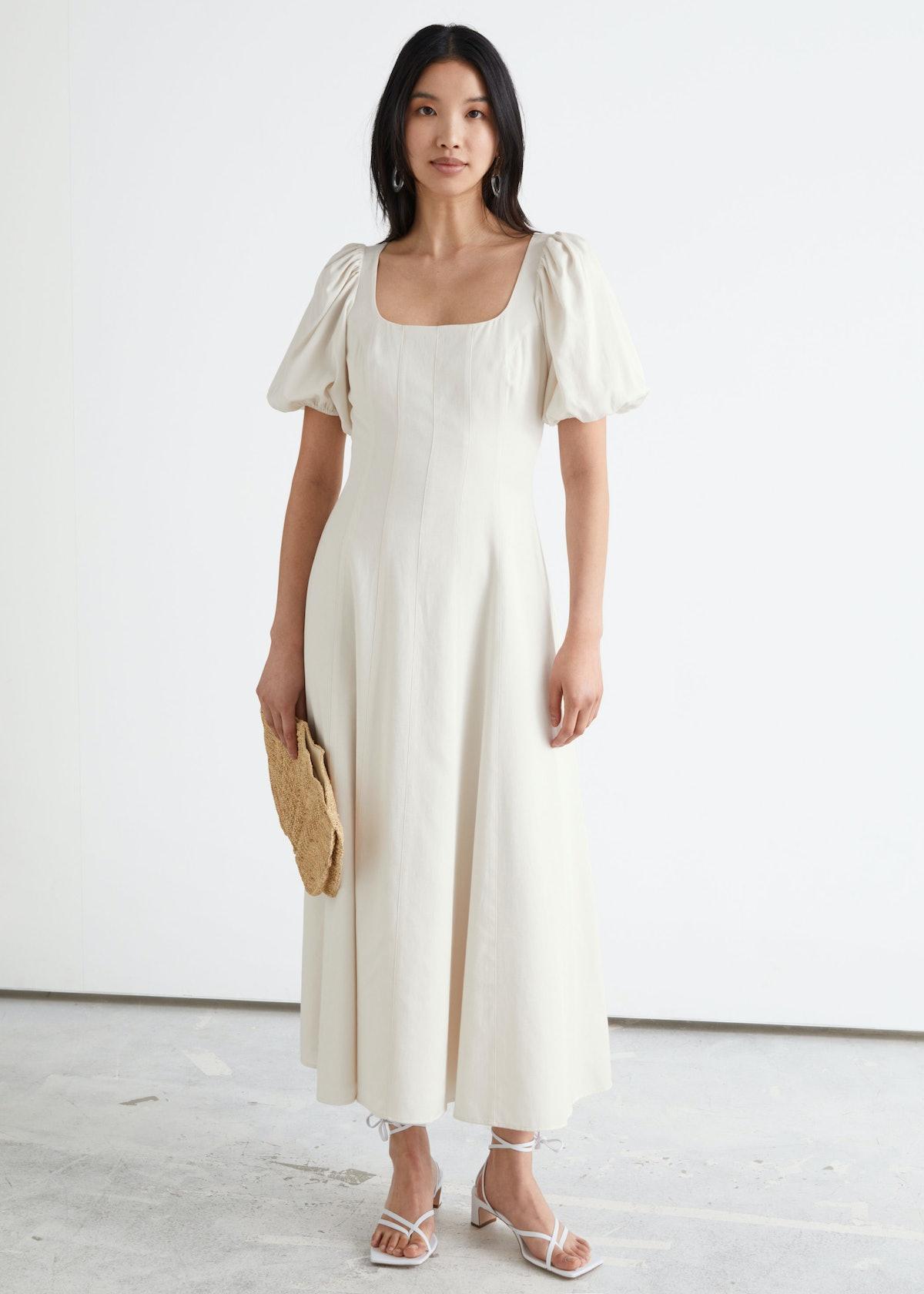 Open Back Puff Sleeve Midi Dress