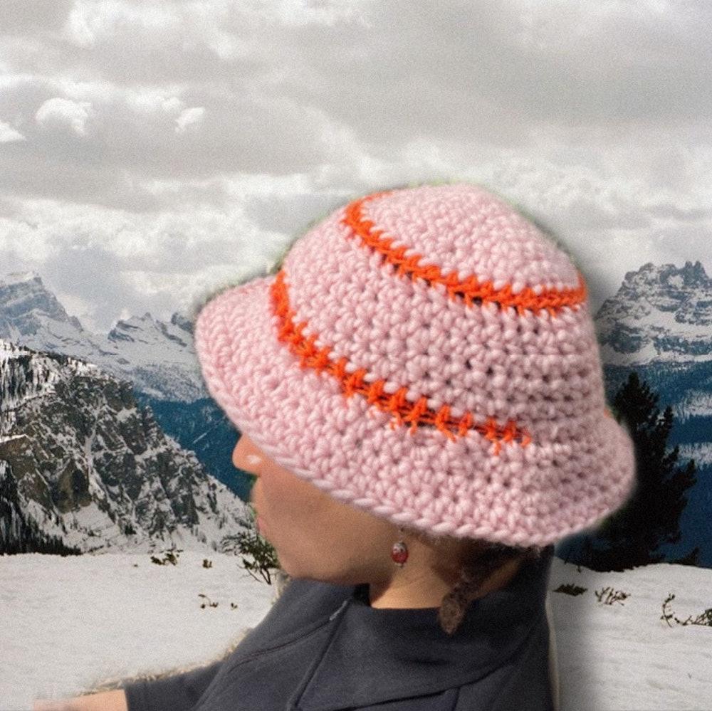 Baby pink Crochet bucket hat