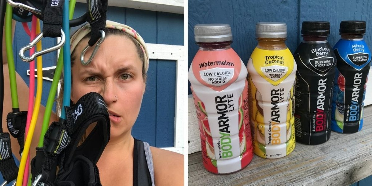 Rachel Varina with resistance bands and BODYARMOR