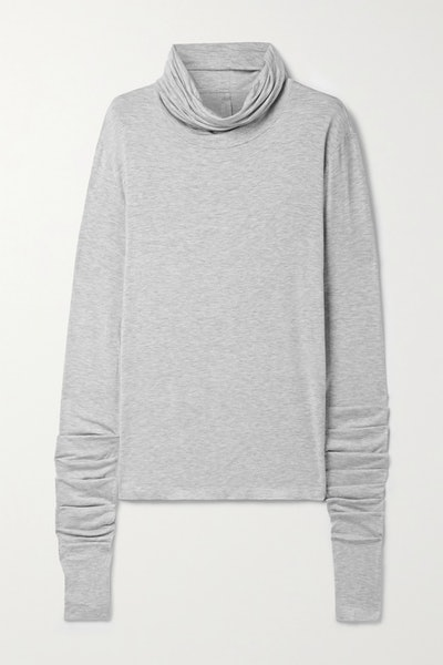 Draped Mélange Stretch-Modal Turtleneck Top
