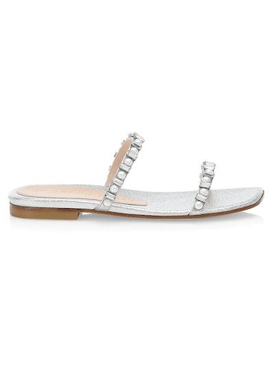 Aleena Embellished Metallic Leather Slides