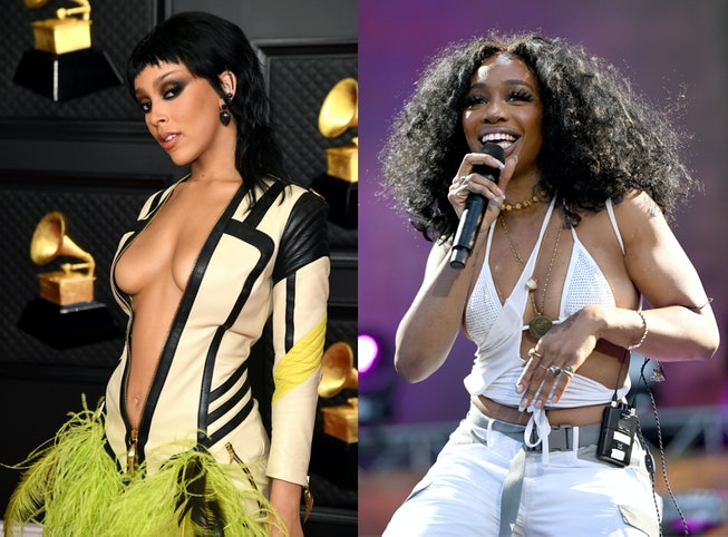 A stitched collage of Doja Cat at the 2021 Grammys, and SZA performing on stage in a white cut-out take top.