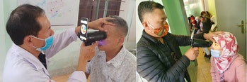 Two doctors can be seen checking up on two patients in separate countries. The doctors are using old...