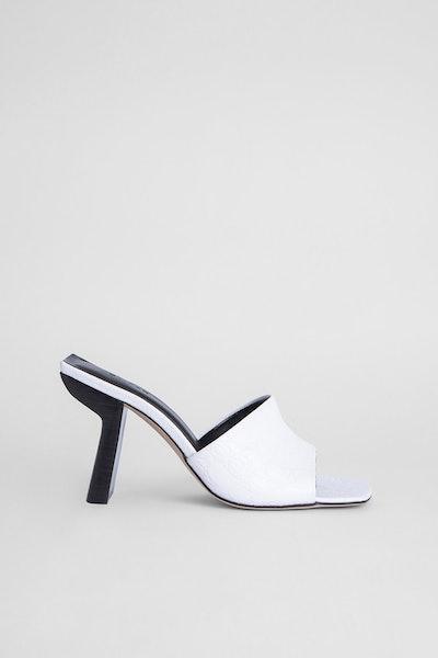 Liliana Optic White Croco-Embossed Leather Mule
