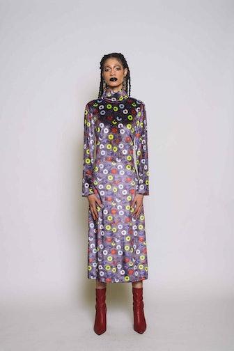 Record Print Mock Neck Midi Dress