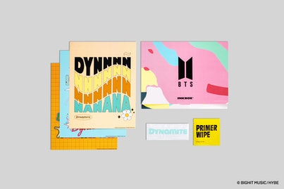 A collection of square packages from the BTS x Inkbox temporary tattoo collection