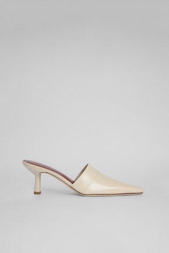Cynthia Ivory Gloss Leather Mule