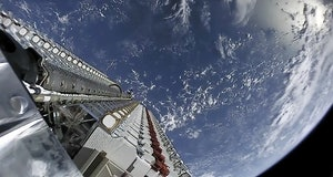 An image of SpaceX deploying Starlink satellites for its internet service.