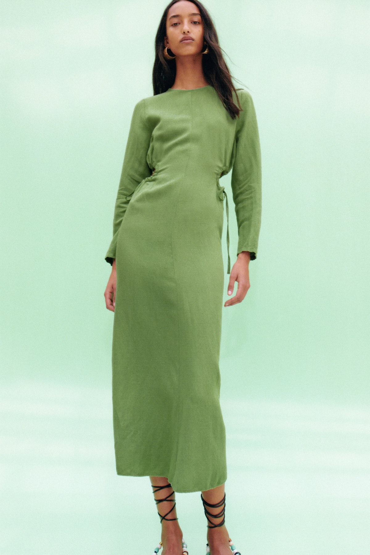 Cut Out Linen Blend Dress