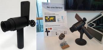 A setup involving an old Samsung and fundus camera.