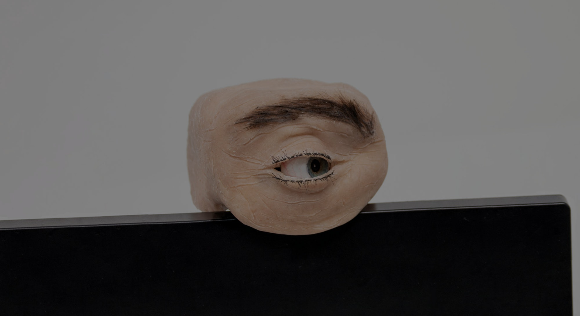 A human-like eye in the form of a webcam.