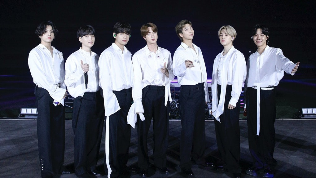SOUTH KOREA - NOVEMBER 22: (EDITORIAL USE ONLY; NO BOOK COVERS.) In this image released on November 22, Jungkook, Suga, V, Jin, RM, Jimin, and J-Hope of BTS perform onstage for the 2020 American Music Awards on November 22, 2020 in South Korea. (Photo by Big Hit Entertainment/AMA2020/Getty Images via Getty Images)