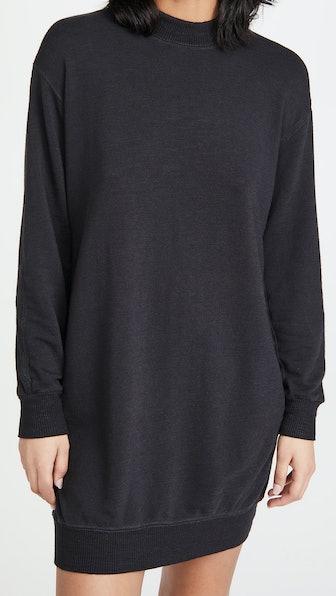 Supersoft Mock Neck Seamed Sweatshirt Dress