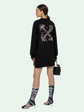 Flowers Arrow Sweatshirt Dress